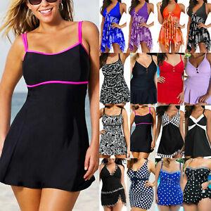 Damen Übergröße Badekleid Bikini Bademode Badebekleidung Badeanzug Sommer Strand
