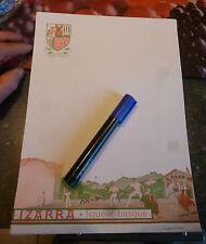 Superbe ancien Menu Papier à Lettre IZARRA Liqueur Fronton Pelote Pays Basque