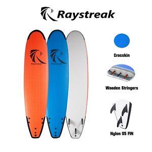 Raystreak-8-039-2-foam-soft-surfboard-8ft-learner-funboard-WITH-LEASH-amp-FIN-softboard