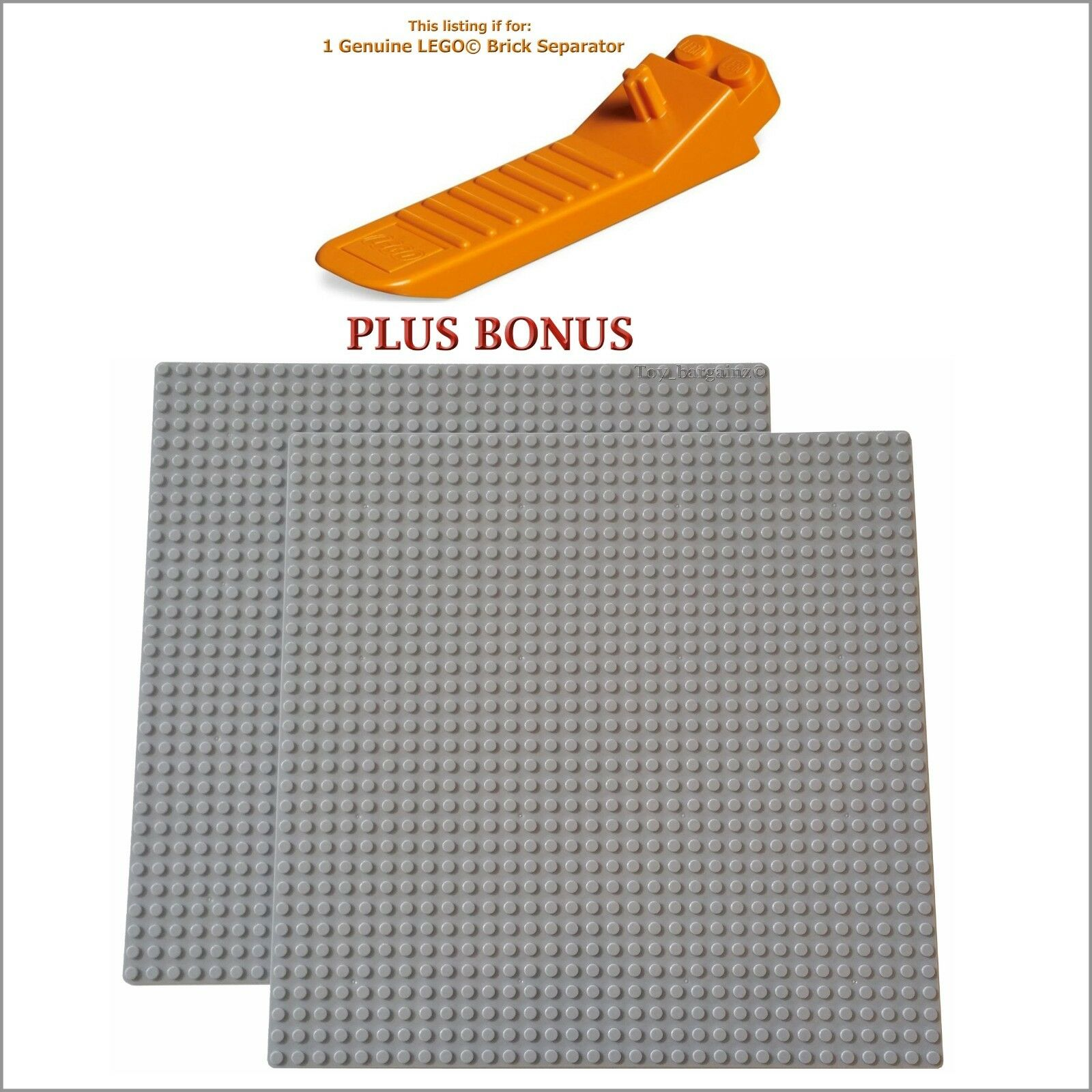 1 LEGO Minifigure Head PLUS 2 Grey 10x10-inch 32x32-stud compatible base plates