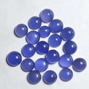 31-50-Ct-Natural-Royal-blue-Chalcedony-10mm-Round-Cabochon-gemstone-8-piece-Lot