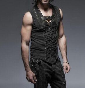 Punk-Rave-Men-039-s-Gothic-Goth-Steampunk-Mediaval-Vampire-Pirate-Shirt-Top-Tank