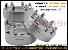 4 PC 2 INCH THICK 5x135 TO 6x135 WHEEL ADAPTERS USE 6 LUG WHEELS ON 5 LUGS