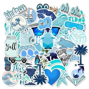 50PCS-Blue-Skateboard-Stickers-Vinyl-Laptop-Luggage-Decal-VSCO-Girl-Cute-Sticker