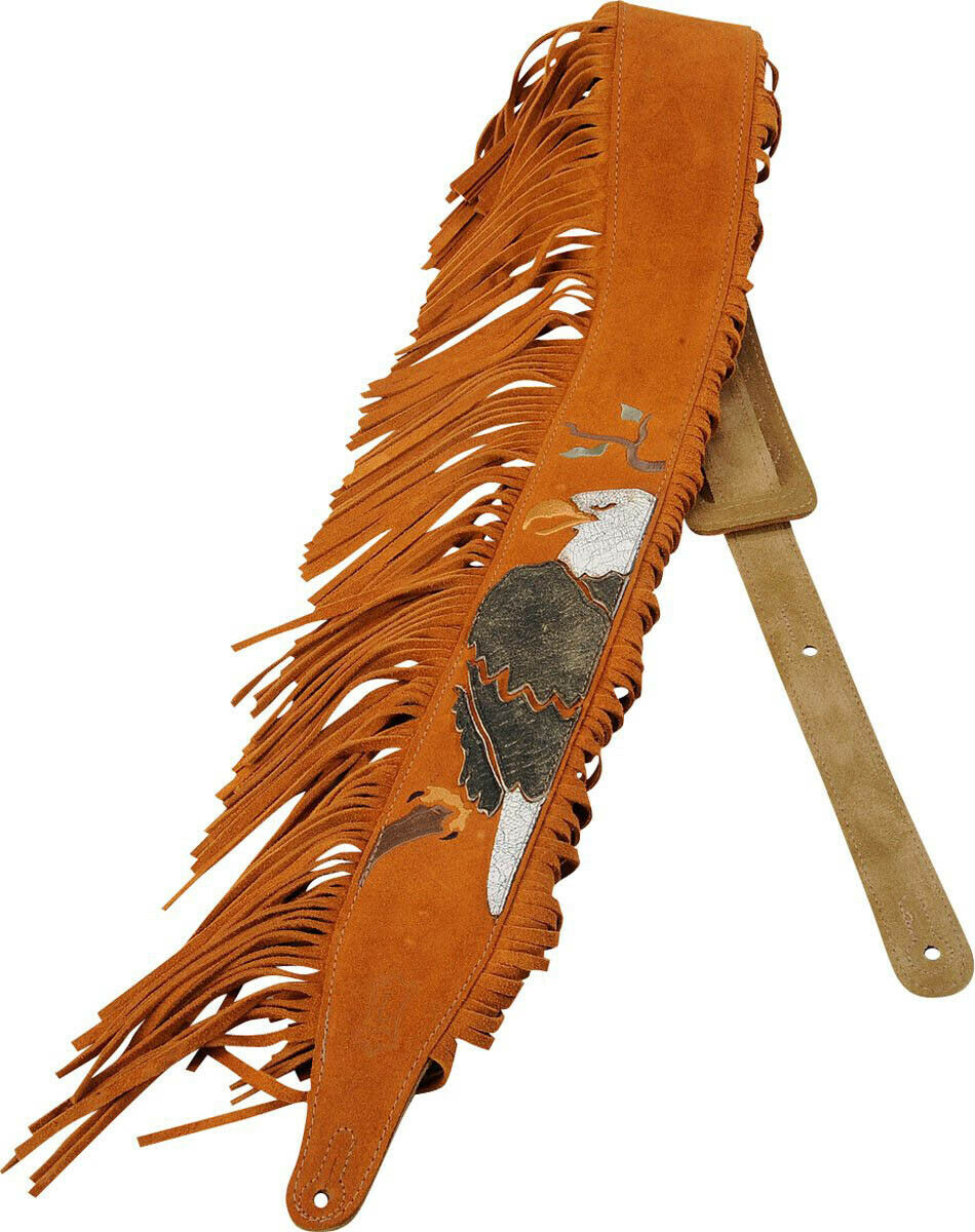 Levy's MS17AIF 2.5  Suede Fringe Native American Guitar Bass Strap - Bald Eagle