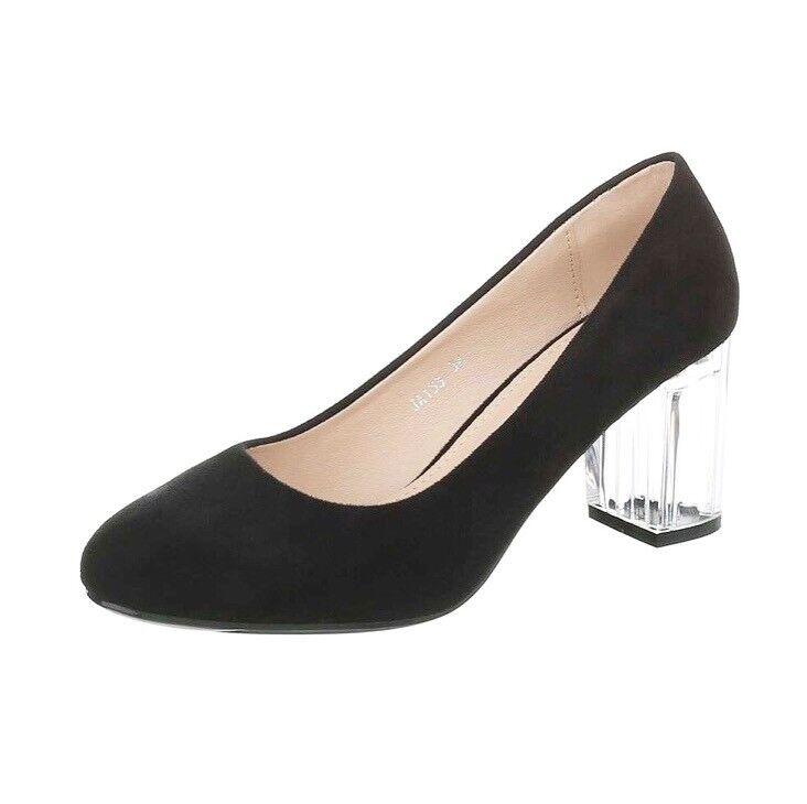 UK Ladies Womens Black Clear Persplex Mid Block Heel shoes Size 3 4 5 6 7 8 Slip