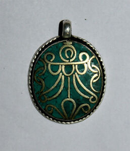 Asian-Fashion-Jewelry-Ethnic-Sterling-Silver-Pendant-Asian-Turquoise-Jewelry-M9