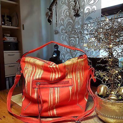 damen Tasche Schopper,Rot-Beige