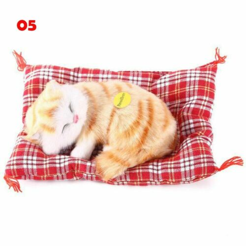 Hot Fashion Sleeping Cats with Sound Doll Plush Simulation Animal Stuffed Toys