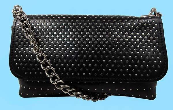 MARC JACOBS Palladium Degrade Studded Black Leather Shoulder Bag Msrp $598.00