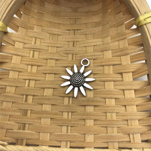 6 pcs Tibet silver Sunflower  Charms 23x19mm DIY Jewellery Making crafts