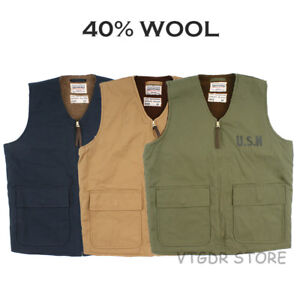 Vintage-USN-Vest-US-Navy-Men-039-s-Woolen-Military-Work-Jacket-Motorcycle-Waistcoat