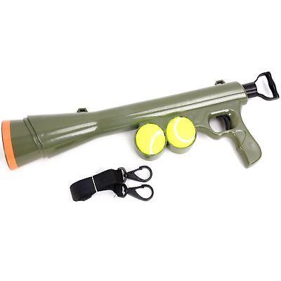 Tennis Ball Launcher Pet Dog Toy Thrower Bazooka Gun Cannon Game With 2 Balls
