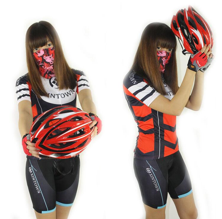 4759f2617 Red New Cycling Bike Women Bicycle Short Sleeve Jersey (Bib) Shorts Set S-