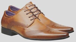 Mens-Fashion-New-Brown-Tan-Leather-Shoes-Formal-Smart-Dress-Wedding-UK-Size