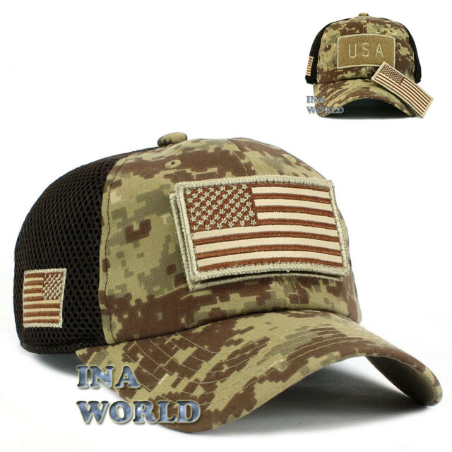USA American Flag Hat Detachable Patch Mesh Tactical Operator cap- Desert  Camo 43d46935556
