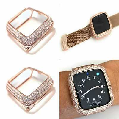 Bling Apple Watch Series 4 5 6 Se Bezel Face Casezirconia Diamond Rose Gold 44mm Ebay