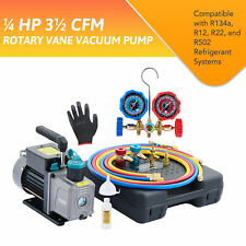35cfm 14 Hp Air Vacuum Pump Hvac Refrigeration Ac Manifold Gauge Set R134a Kit