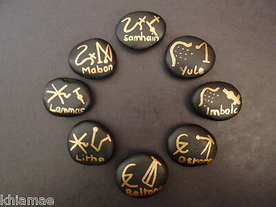 WHEEL OF THE YEAR FESTIVAL ALTAR STONE SET wicca pagan amulet samhain yule rock
