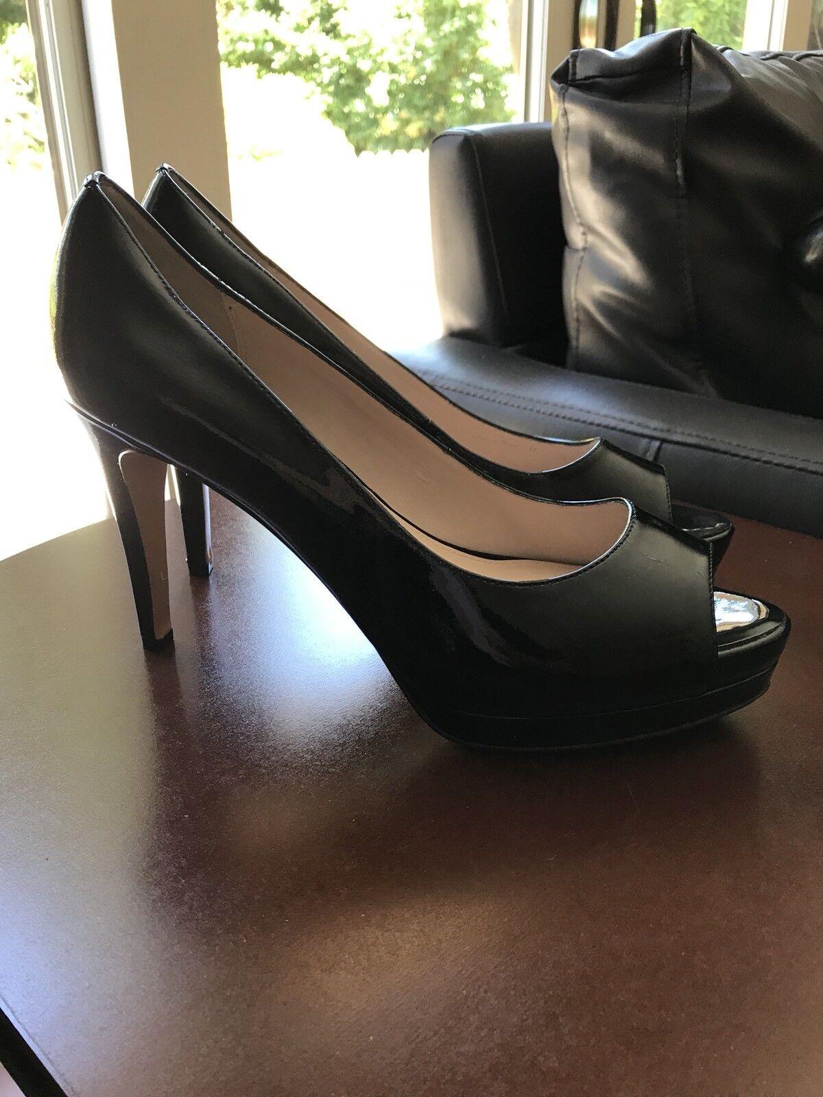 $398 NEW Elie Tahari Madison Black Patent Peep Toe High Heel Pumps Size 10.5