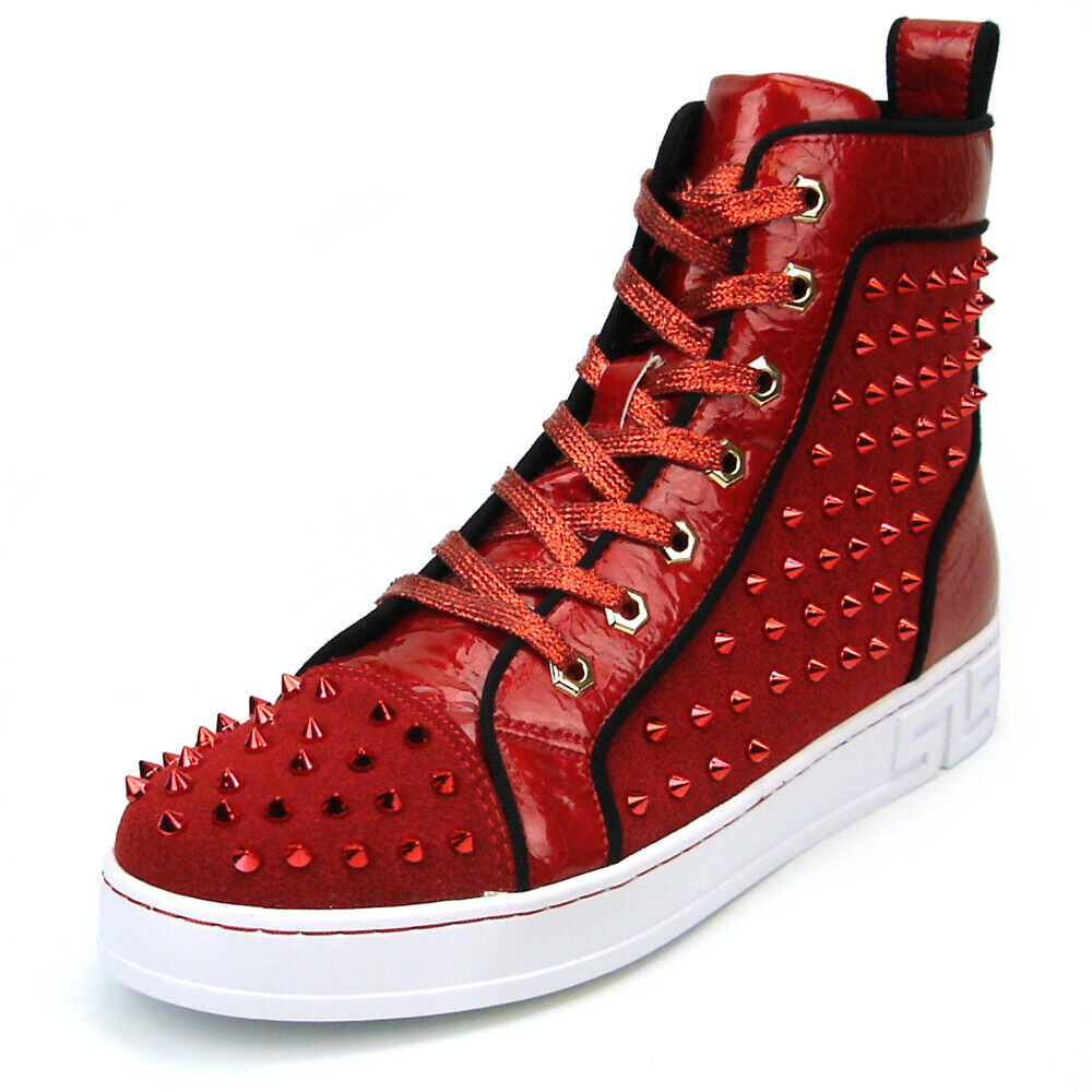 FI-2364 Red Suede Red Spikes High top Sneaker Encore by Fiesso