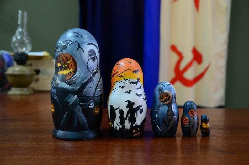 Halloween Nesting Doll Matryoshka, Hand Painted doll, Made In Russia