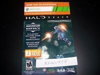 Xbox 360 + One Halo Reach Anniversary Map Pack Bonus Content Voucher Card Only