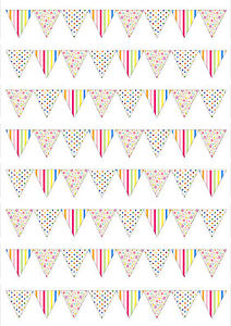 64 CK ROSES Vintage SMALL Flower Bunting Edible Wafer Paper//Icing Cake Topper
