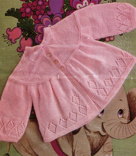 """Knitting pattern Gorgeous Baby Girl matinee coat fits 17-19/"""" in 3 or 4 ply"""