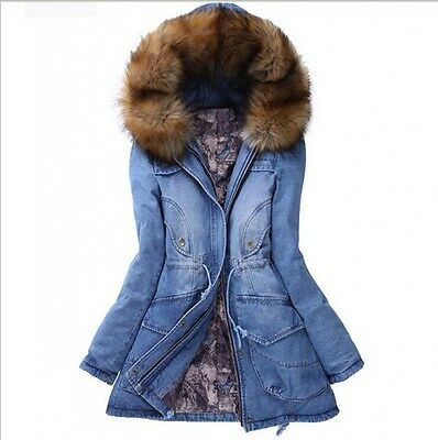 HOT Women's Chic Hooded Thick Denim Padded Jacket Furry Linen Trench Coats Parka