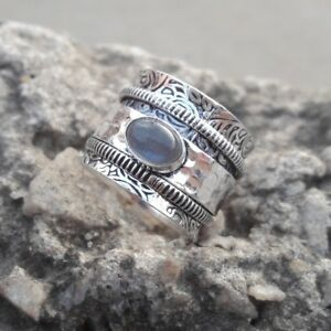 Labradorite-Stone-Solid-925-Sterling-Silver-Spinner-Ring-Meditation-Ring-Size