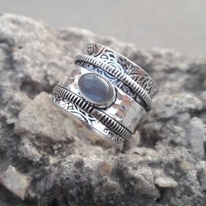 Labradorite-Pierre-Solide-Argent-Sterling-925-spinner-ring-meditation-Anneau-Taille