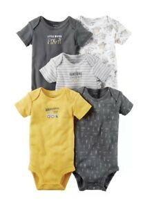 New Carter/'s 5 Pack Boys Bodysuits Stripes Shirt Pocket NWT Size Preemie