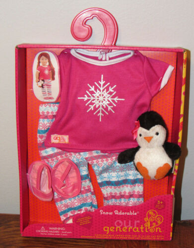 """Our Generation SNOW ADORABLE Christmas Pajamas Pjs Clothes 18/"""" Doll Girl NEW!"""