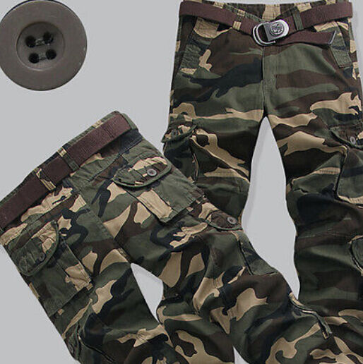 Hot Mens Cotton Combat Casual Military Camouflage Cargo Pant Army Baggy Trouser