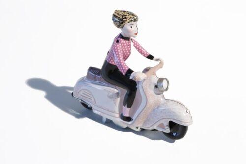 + Blechspielzeug MÄDCHEN AUF MOTORROLLER (-beige-) °° Tin Toy °°