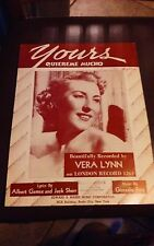 YOURS  VINTAGE SHEET MUSIC   COPYRIGHT 1937