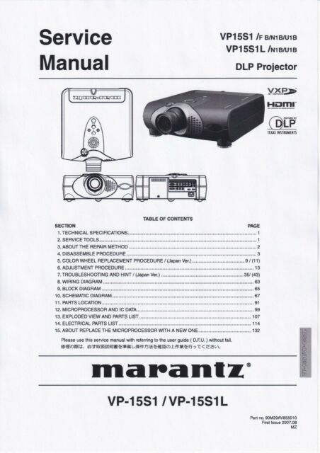 Service Manual For Marantz Vp