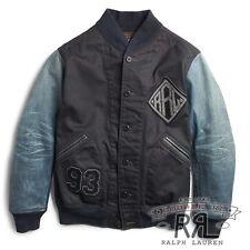 $990 RRL Ralph Lauren 1930s Indigo Dyed Leather Sleeve Cotton Jacket-MEN-XL