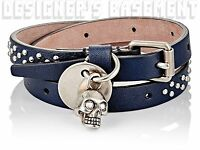 Alexander Mcqueen Navy With Silver Skull Charm Studded Wrap Bracelet Authent