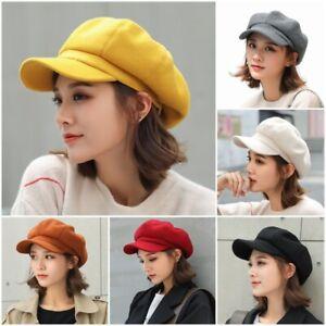 Fahion-Womens-Wool-Blend-Fiddler-Cap-Girls-Baker-Boy-Peaked-Cap-Newsboy-Hat-Xmas