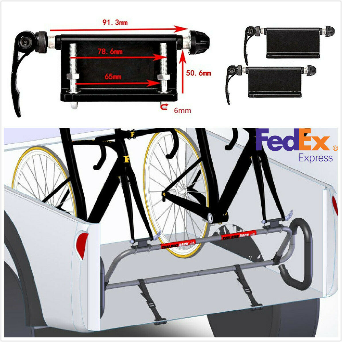 Details about  / Bike Bicycle Car Rack Carrier Quick-release Alloy Fork Bicycle Block
