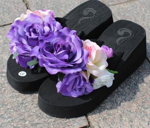 Hot Ladies Flower Sandals Wedge Heels Flip Flops Platform Wedding Slippers Shoes