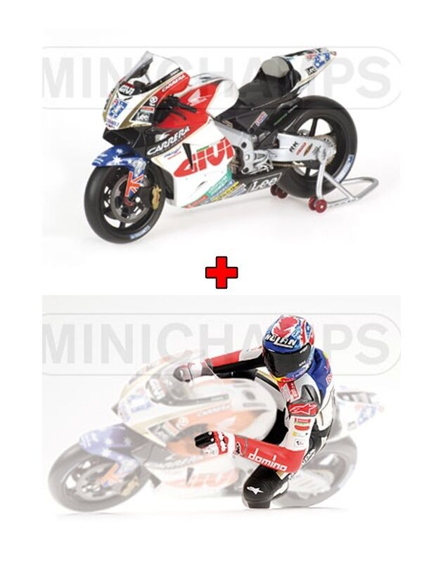 1 12 Minichamps Honda RC211V + Figure Casey Stoner 2006 Team LCR MotoGP RARE NEW