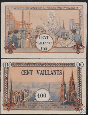FRANCE 100 VAILLANTS BOY SCOUT JESUS CHURCH SCARCE VIETNAM AUNC MONEY BILL NOTE