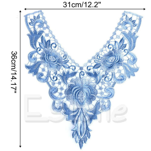 1PC Lace Embroidered Floral Neckline Neck Collar Trim Clothes Sewing Applique