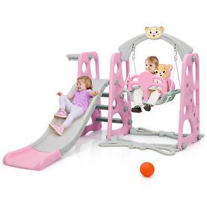 Babyjoy 4-in-1 Toddler Climber and Swing Set w/ Basketball Hoop & Ball Pink