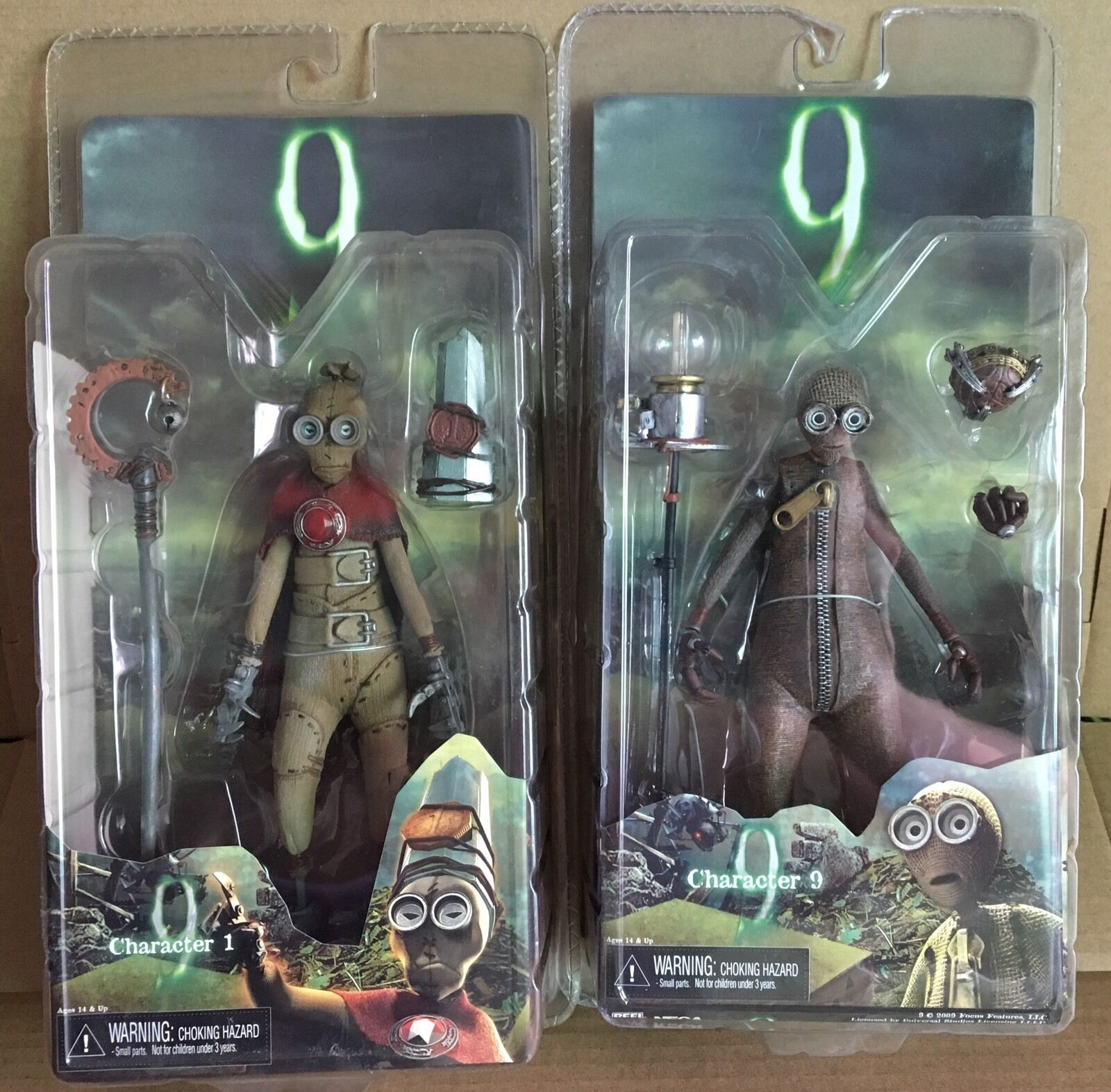 Lot of 2 CHARACTER 9 NECA NINE 1 ONE and NINE Action Figures Tim Burton 2009