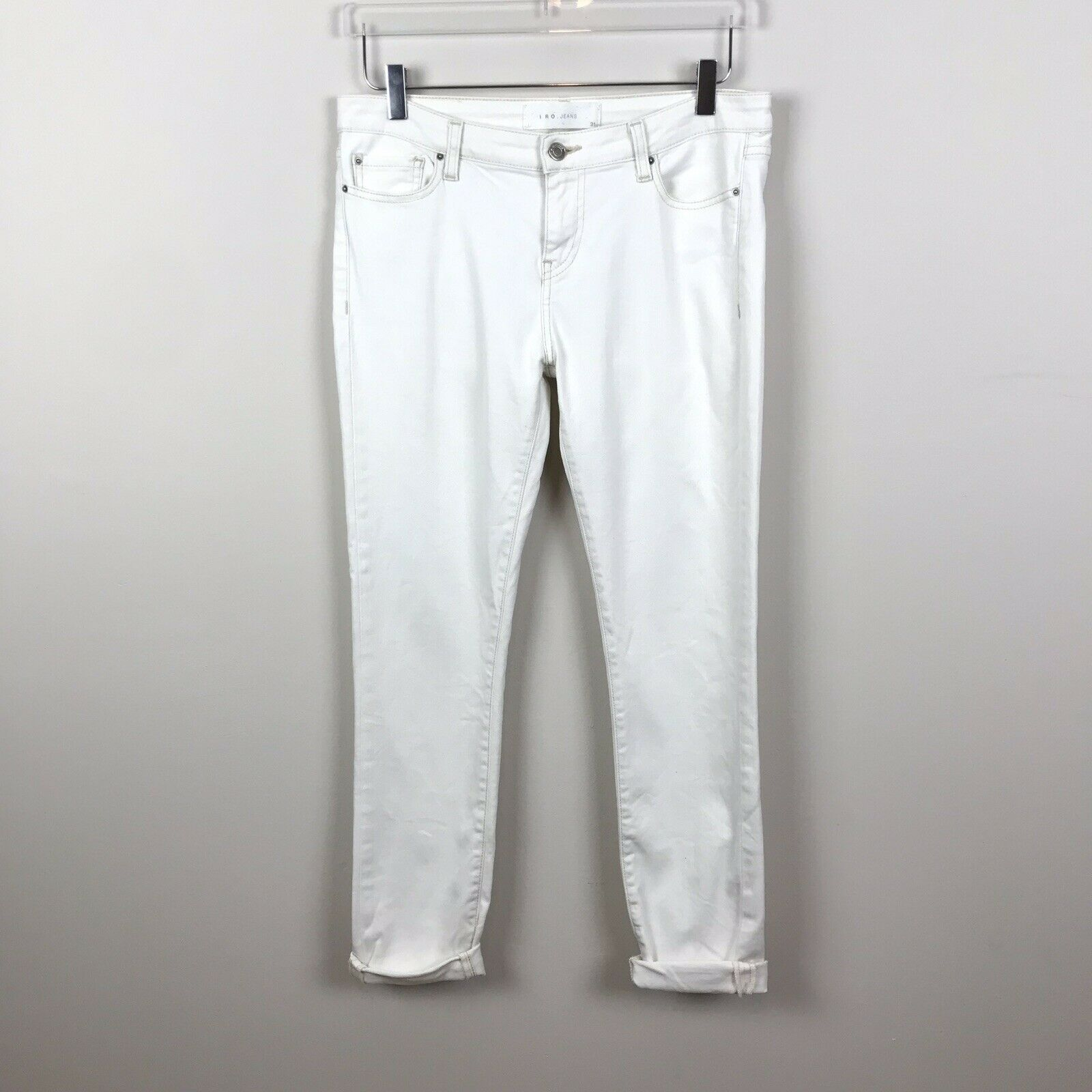 IRO 31in Solid White Jeans Slim Fit Casual Cotton Stretch Roll Ankle B38