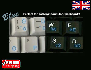 Details about Hungarian Transparent Keyboard Stickers With Blue Letters For  Laptop PC Computer